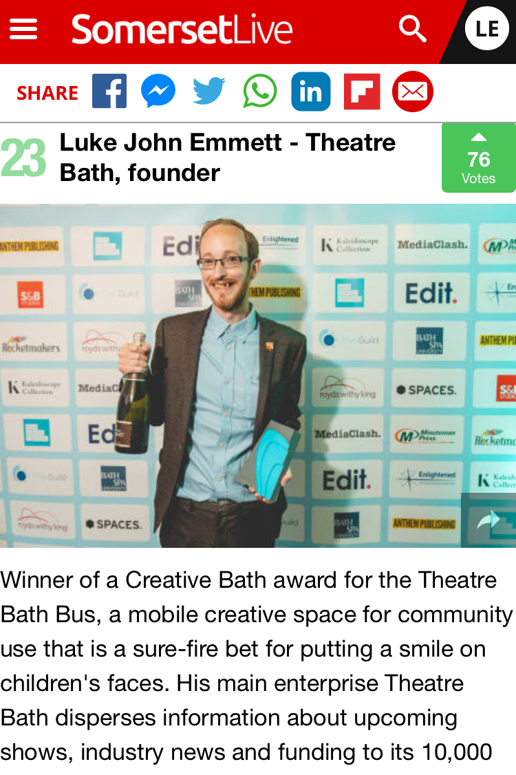 Luke is 23rd in the Bath Chronicle top 100 most influential people in Bath list